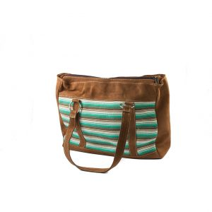 ffd132661f5 Tas Leder + Geweven Turkoois Bohemian Fair Trade